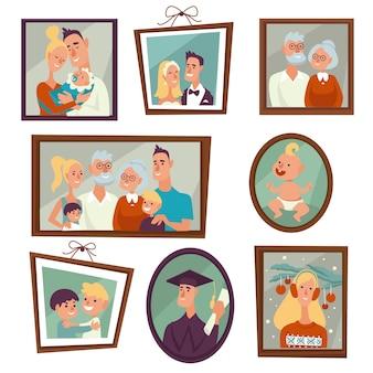 Retrato familiar y foto en marcos en la pared