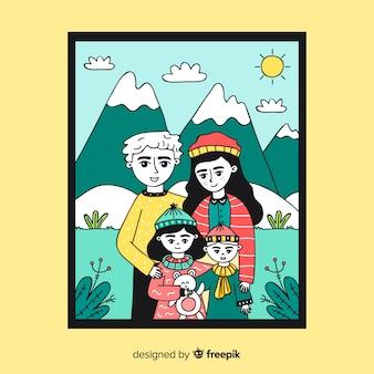 Retrato familiar en la montaña dibujado a mano
