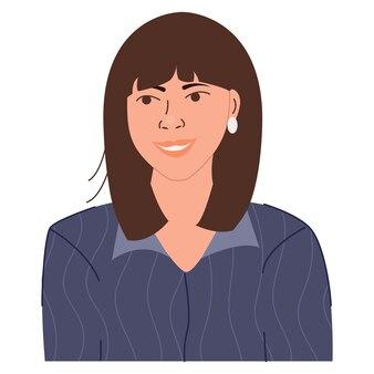 Retrato de feliz empresaria sonriente bonito avatar de personaje femenino ilustración de vector plano