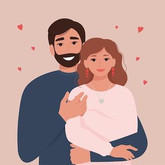 Retrato de una feliz pareja de enamorados - un hombre y una mujer.