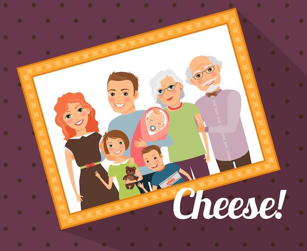 Retrato de foto de familia. madre, padre, hijo, hija, bebé, abuela, abuelo. ilustración vectorial
