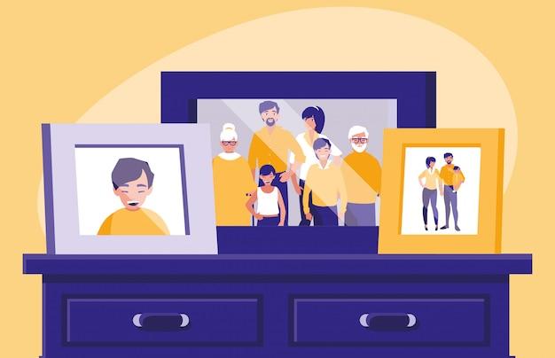 Retrato con foto de miembros de la familia en el cajón