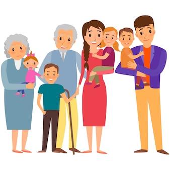 Retrato de la gran familia. familia feliz con niños y abuelos.