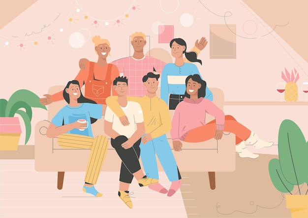 Retrato de grupo de amigos en la fiesta de casa