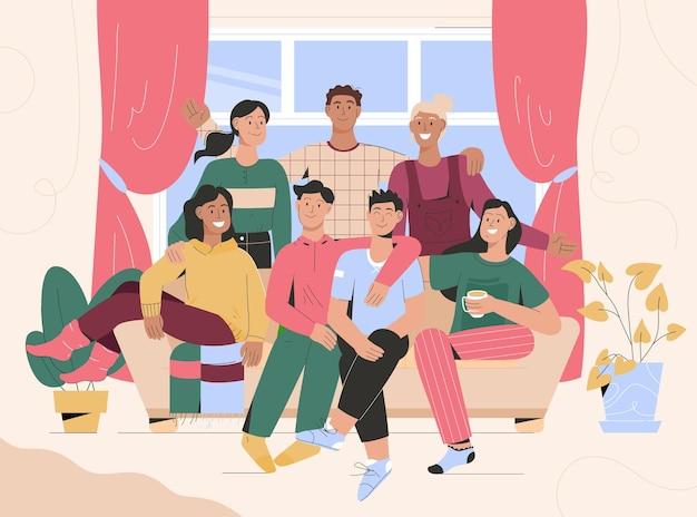 Retrato de grupo de amigos reunidos en casa