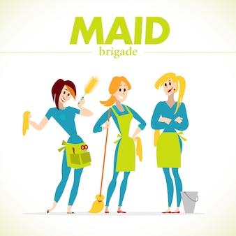 Retrato de grupo de dama de limpieza en uniforme. estilo.