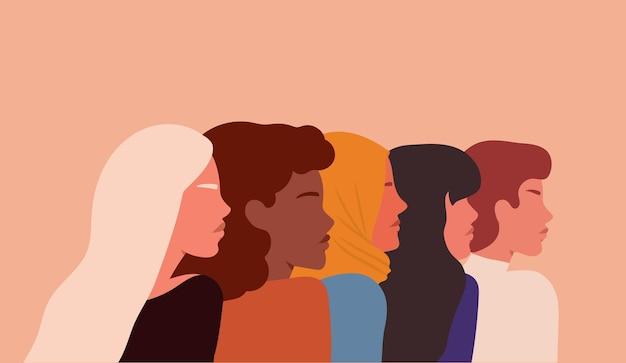 Retrato de un grupo de diferentes mujeres étnica y culturalmente ilustración en estilo plano