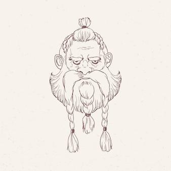 Retrato de guerrero escandinavo enojado con trenzas