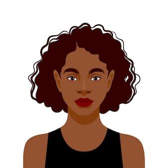 Retrato de hermosa mujer afroamericana sobre fondo blanco.