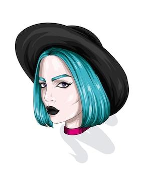 Retrato de una hermosa niña con un elegante sombrero