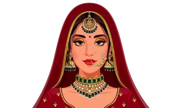 Retrato de hermosa novia india