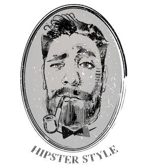 Retrato de hipster de peluquero con pipa de tabaco