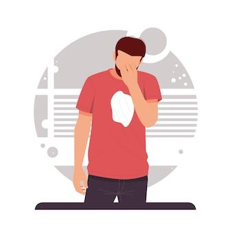 Retrato de un hombre estresado en diseño plano