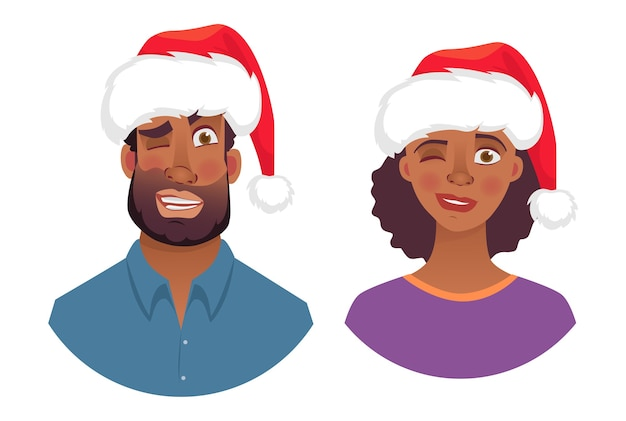 Retrato de hombre y mujer africana con sombrero de navidad.