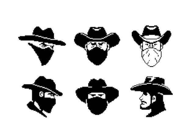 Retrato de un hombre con un sombrero de vaquero y una máscara de estilo píxel vaquero o ladrón