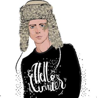 Retrato, de, hombres jóvenes, con, sombrero de piel