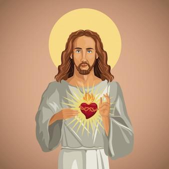 Retrato, jesucristo, sagrado, corazon
