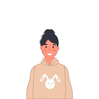 Retrato de joven adolescente adolescente feliz en ropa casual