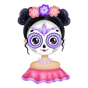 Retrato de una linda chica mexicana con maquillaje de calavera sobre un fondo blanco.