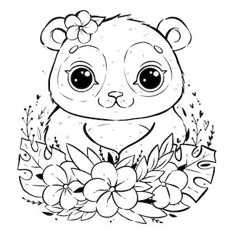 Retrato de un lindo panda con hojas y flores tropicales, panda con los ojos abiertos y con una flor cerca de la oreja, dibujo para colorear