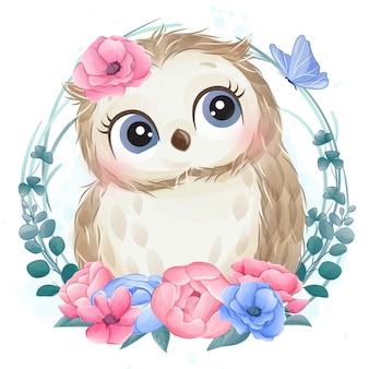 Retrato lindo del pequeño búho con flores