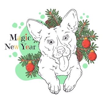 Retrato de lindo perro corgi con árbol de navidad.