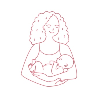 Retrato de la madre sonriente que celebra al bebé dibujado con la línea de contorno en el fondo blanco. alegre mamá con niño recién nacido. feliz crianza de los hijos, maternidad y lactancia. ilustración monocroma