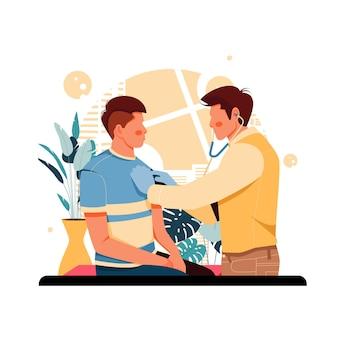 Retrato del médico examinando la ilustración del paciente