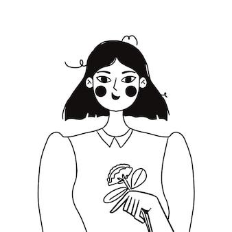 Retrato de moda en blanco y negro de una niña. ilustración de vector de moda en estilo plano.
