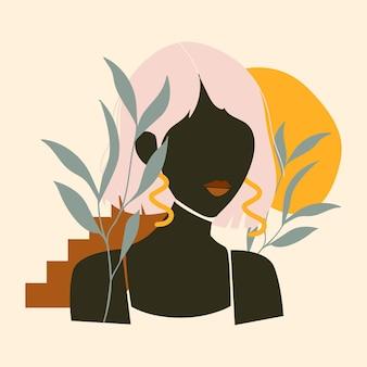Retrato de mujer dibujado a mano abstracto ilustrado
