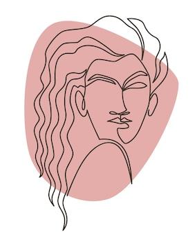 Retrato de mujer dibujo de arte de línea minimalista
