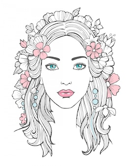 Retrato de mujer hermosa dibujo misterioso belleza joven mujer con flores en el arte del cabello