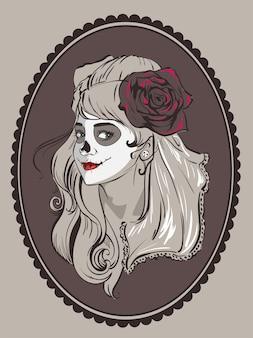 Retrato de mujer hermosa para la fiesta mexicana día de muertos.