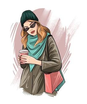 Retrato de mujer joven hermosa de dibujo a mano. chica de moda con café. chica con una chaqueta abrigada. ilustración de boceto