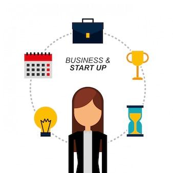 Retrato mujer de negocios bulbo trofeo calendario maleta y reloj de arena