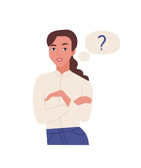 Retrato de mujer de pensamiento joven linda aislada sobre fondo blanco. oficinista y burbuja de pensamiento con signo de interrogación. problema de resolución de chica curiosa. ilustración de vector colorido de dibujos animados plana.