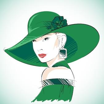 Retrato de mujer sensual atractiva vistiendo sombrero verde y pendientes ilustración vectorial