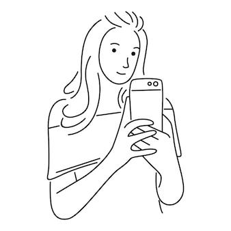 Retrato de una mujer con un teléfono