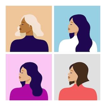 Retrato de mujeres hermosas en foto de perfil. avatar chicas jóvenes