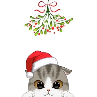 Retrato de navidad de personaje lindo gato