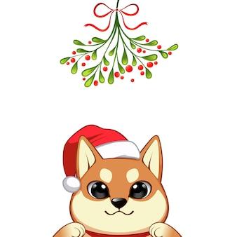 Retrato de navidad de personaje lindo perro