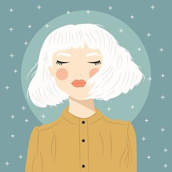 Retrato de una niña con cabello blanco y ojos cerrados