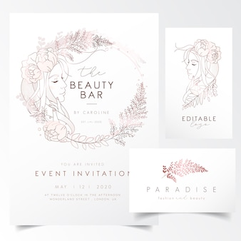 Retrato de niña con hojas y flores para la plantilla de invitación de evento