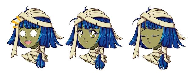 Retrato de niña linda momia de anime. dos expresiones diferentes.