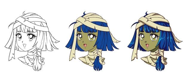 Retrato de niña linda momia de anime. tres versiones: contorno, colores planos, sombreado de celdas.