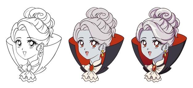 Retrato de niña vampiro anime lindo.