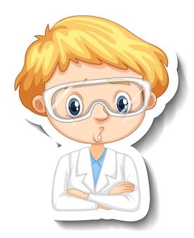 Retrato de un niño en bata de ciencia personaje de dibujos animados pegatina