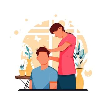 Retrato de un niño de corte de pelo de niña en casa