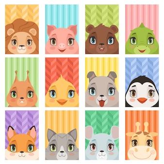 Retrato de niños animales. león pingüino jirafa cocodrilo zorro bebé animales avatares con cabeza orejas nariz perro ratón cerdo dibujos animados tarjetas