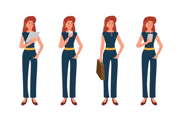 Retrato oficina negocio mujer pose conjunto de caracteres.